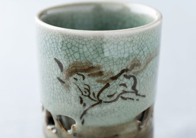 Obori Soma-ware Kyogetsu Pottery/ Soma ware's typical double-structured cup