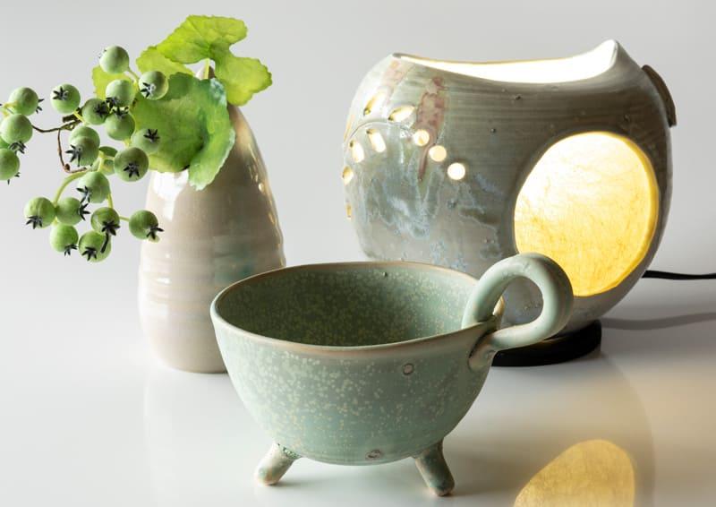 Obori Soma-ware Kyogetsu Pottery/ lamp shade